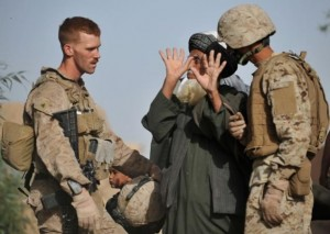 Corporal Joshua Boson, left, on the front lines.